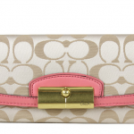 Coach Kristin Signature Sateen Slim Wallet # 48981 สี LIGHT KHAKI/ROSE