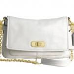 Coach Chelsea Leather Flap Convertible Shoulder Crossbody Bag # 17825 สี Brass / Parchment