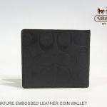 Coach Embossed Men's Bifold Signature Coin Wallet # 74531