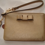 COACH DARCY BOW SAFFIANO LEATHER SMALL WRISTLET/BAG # 51672 สี GOLD