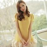 """""""พร้อมส่ง""""เสื้อผ้าแฟชั่นสไตล์เกาหลีราคาถูก Brand God is girl เดรสสีเหลือง แขนสั้น ชายระบาย3ชั้นสีครีม ซิปหลัง มีซับในทั้งตัว น่ารักค่ะ"""