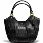 Coach Ashley Gathered Leather Shoulder Tote # 23928 สี Brass/Black