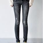 กางเกงยีนส์ยืดขายาวรัดรูป สีเทาควัน (32,34,36,38,40)