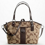 Coach Signature Stripe Pocket Tote # 17948 สี Khaki Brown