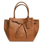 COACH TURNLOCK TIE TOTE IN REFINED PEBBLE LEATHER # 35160 สี Light Gold/Saddle/Watermelon