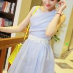 """sizeM""""พร้อมส่ง""""เสื้อผ้าแฟชั่นสไตล์เกาหลีราคาถูก Brand Anan Girl เดรสสีฟ้าแขนกุด ซิปหลัง มีซับใน มีเข็มขัดผ้าประดับมุกให้ สวยค่ะ -size M"""