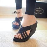 พร้อมส่ง / รองเท้าส้นเตารีด สานหน้า วัสดุทำจากหนังนิ่มแบบสวยเก็บหน้าเท้า ทรงสวย น้ำหนักเบา เดินสบาย