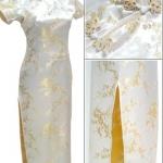 ♥พร้อมส่ง♥ ชุดกี่เพ้ายาว ลายดอกเหมย แขนสั้น ซิปข้าง สีเหลือง 6XL อก 48 นิ้ว