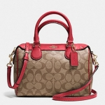 Coach MINI BENNETT SATCHEL IN SIGNATURE # 36702 สี IMITATION GOLD/KHAKI/CLASSIC RED