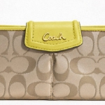 COACH ASHLEY SIGNATURE SATEEN SLIM ENVELOPE WALLET # 48096