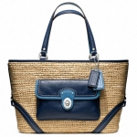 Coach Straw Pocket Tote Bag # 22904 สี Natural Navy Blue
