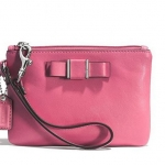 COACH DARCY BOW SAFFIANO LEATHER SMALL WRISTLET/BAG # 51672 สี SILVER/STRAWBERRY