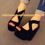 [พร้อมส่ง] รองเท้าส้นเตารีด สีดำ  ไซส์38#