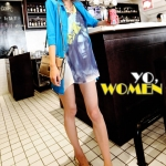 """""""พร้อมส่ง""""เสื้อผ้าแฟชั่นสไตล์เกาหลีราคาถูก เสื้อคลุมผ้าคอตตอนหนา ติดกระดุม 1เม็ด กระเป๋า 2 ข้าง ด้านหลังซีทรู -สีฟ้า"""
