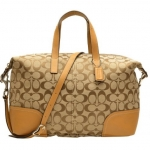 Coach HADLEY SIGNATURE ZIP SATCHEL # 31841 สี Khaki/Natural