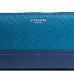 COACH ACCORDION ZIP WALLET IN COLORBLOCK SAFFIANO LEATHER # 49381 สี SV/DARK PLUME/NAVY