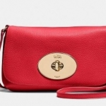 Coach liv pouch crossbody in pebble leather # 52896 สี Li/ Red