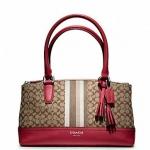 Coach legacy signature stripe mini rory bag # 48040 สี SV / KHAKI / BLACK CHERRY