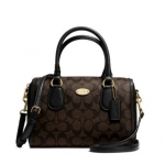 COACH SIGNATURE MINI BENNIE SATCHEL # 34084 สี LIGHT GOLD/ BROWN/BLACK