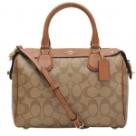 Coach MINI BENNETT SATCHEL IN SIGNATURE # 36702 สี SADDLE