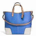 COACH HADLEY TWILL DUFFLE # 28286 สี SILVER/BRILLIANT BLUE