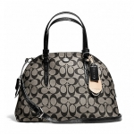 Coach Peyton Signature Cora Domed Satchel Shoulder Handbag # 24606 สี Black