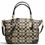 COACH MADISON SMALL KELSEY SATCHEL IN PRINTED SIGNATURE FABRIC # 28562 สี LIGHT GOLD/KHAKI BLACK