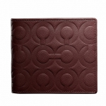 COACH Embossed Bifold Wallet # 74179 สี Mahogany