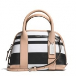 COACH BLEECKER MINI PRESTON SATCHEL IN STRIPED COATED CANVAS # 30172 สี SILVER/TAN/WHITE สำเนา