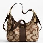 Coach Signature Crossbody Bag #  21873 สี brass / khaki mahogany
