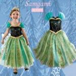 "size 100""พร้อมส่ง""เสื้อผ้าเด็กสไตล์เกาหลีราคาถูก Brand Plushies kids ชุดแฟนซี Frozen Anna เดรสเสื้อเปิดไหล่ช่วงตัวสีดำขลิบทอง ต่อกระโปรงสีฟ้าเขียว คลุมด้วยผ้าตาข่ายสีเขียว ซิปข้าง สวยค่ะ -size 100"