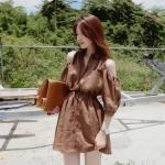 """""""พร้อมส่ง""""เสื้อผ้าแฟชั่นสไตล์เกาหลีราคาถูก Brand Cherry KOKO เดรสสีน้ำตาล ผ่ากระดุมหน้ายาว คอปก เว้าไหล่ กระเป๋าหน้า2ข้าง รูดเอว ไม่มีซับใน"""