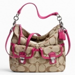 Coach Daisy Signature Pocket Hobo # 23392 สี Khaki Rasberry