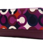Coach Park Op Art Print Zip Around Wallet # 50433 สี Bordeaux Multicolor