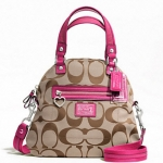 Coach Daisy Signature Foldover Crossbody # 22941สี Khaki/Pink