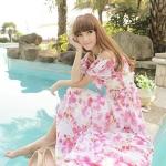 Summer Maxi Dress-Chiffon |  ซัมเมอร์เดรสเปิดไหล่ผ้าชีฟอง แฟชั่นเกาหลี