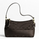 Coach Signature Stripe Satin Top Handle Bag # 46302 สี Dark Brown
