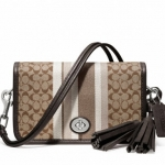 Coach Legacy Signature Stripe Penny Shoulder Purse # 19919 สี Khaki / Mahogany