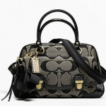 Coach POPPY SIGNATURE SATEEN METALLIC PUSHLOCK SATCHEL # 18356 สี BLACK/GOLD