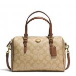 COACH PEYTON SIGNATURE BENNETT MINI SATCHEL # 49862 สี Light Khaki/Saddle
