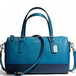 COACH SAFFIANO COLORBLOCK MINI SATCHEL BAG # 49786 สี SV/DARK PLUME/NAVY