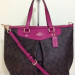 COACH SIGNATURE PLEAT TOTE # 34614 สี IM/Brown/Cranberry