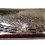 Coach Gallery Leather Large Checkbook Wallet # 46240 สี Pewter