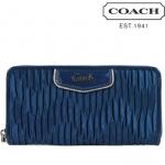 Coach ASHLEY GATHERED SATIN ZIP AROUND # 48115 สี SILVER/OCEAN