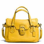 COACH CAMPBELL LEATHER SMALL FLAP SATCHEL # 27231 สี SILVER/SUN FLOWER