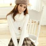 """""""พร้อมส่ง""""เสื้อผ้าแฟชั่นสไตล์เกาหลีราคาถูก Brand Tokyo Fashion เสื้อไหมพรมกันหนาว คอเต่า แขนยาว -สีขาว"""