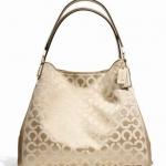 Coach Madison Small Phoebe Shoulder Bag In Op Art Sateen Fabric # 26448 สี LI/LIGHT KHAKI/CHAMPAGNE