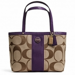 COACH SIGNATURE STRIPE TOP HANDLE TOTE # 48798 สี Light Khaki/Purple