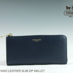Coach Saffiano Leather Slim ZIP Wallet # 50923 สี Brass/Navy