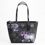 Coach Applique Signature Tote Handbag # 17587 สี Black